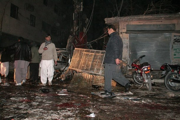 A scene of bomb blast on Alamdar Road
