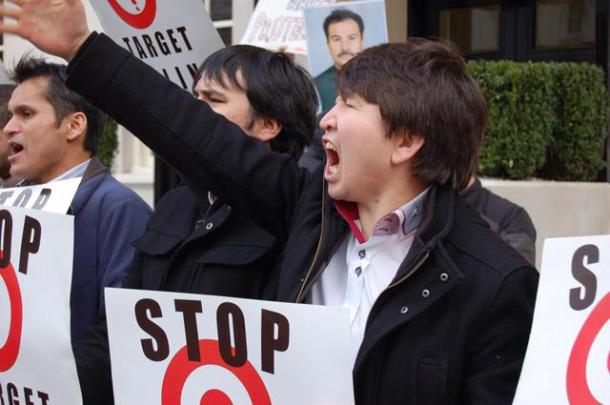 An angry protester chanting slogan