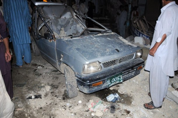 Damaged car at MQM's office after Karachi Blast.