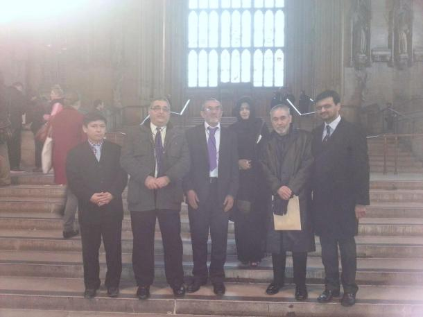 At the Parliament House: L-R, Sadiq Noyan, Yousuf Al-Khoei, Haji Jan Ali, Barrister Rubab Rizvi, Haji Marzooq Ali and Musa from Manchester