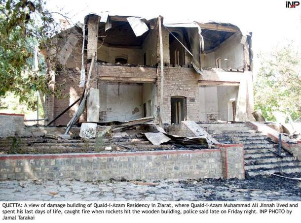 Ziarat Residency destroyed in bomb attacks.