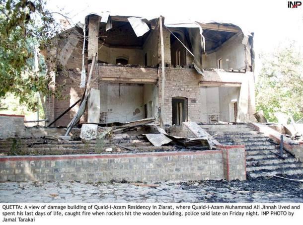 Ziarat Residency destroyed in bomb attacks.