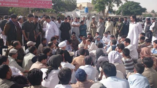 Protesters Gathered Outside Office of Inspector General of Balochistan Police Against Today's Incidents