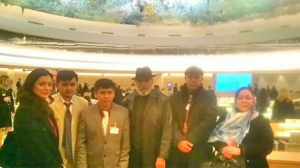 L-R, Samah Naz, Mansour Hussein Jaffary, Sadiq Noyan, Agha Marzooq Ali, Abdul Wahed and Mrs Wahed in the UN Building, Geneva.